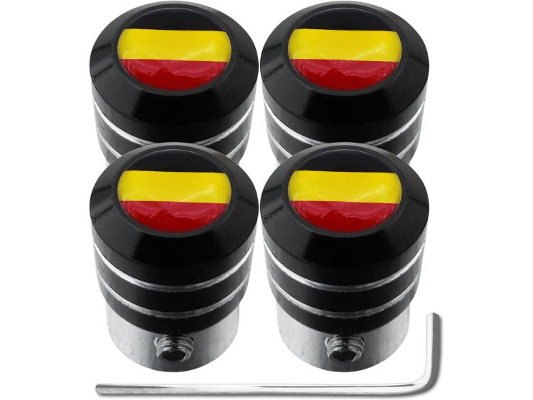 """4 Antidiebstahl-Ventilkappen Belgien Flagge Belgisch """"black"""""""