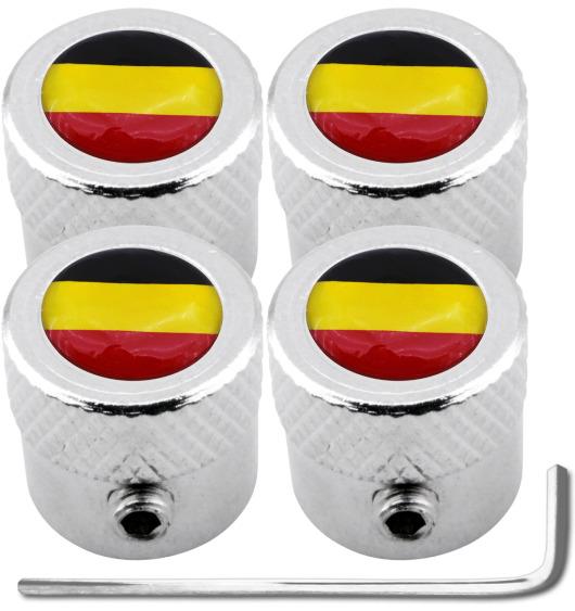 """4 Antidiebstahl-Ventilkappen Belgien Flagge Belgisch """"gestreift"""""""