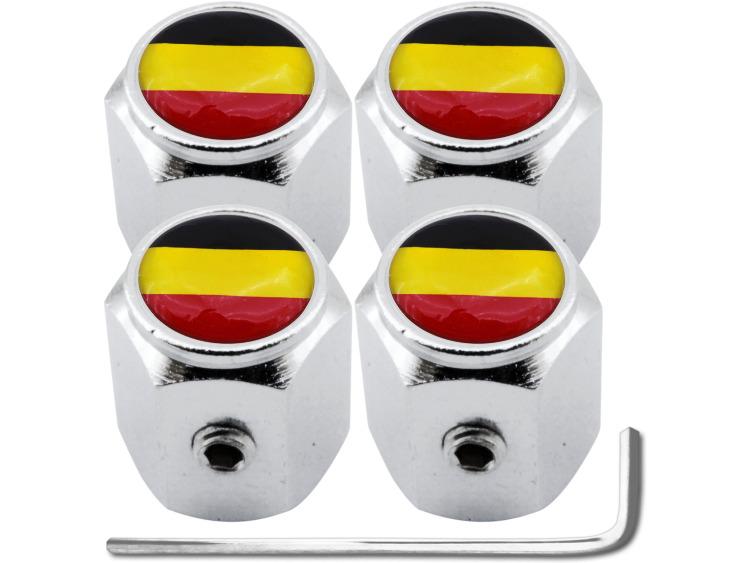 """4 Antidiebstahl-Ventilkappen Belgien Flagge Belgisch """"Hexa"""""""