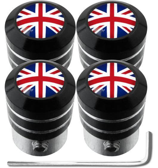 """4 Antidiebstahl-Ventilkappen England Vereinigtes Königreich Englisch British Union Jack """"black"""""""