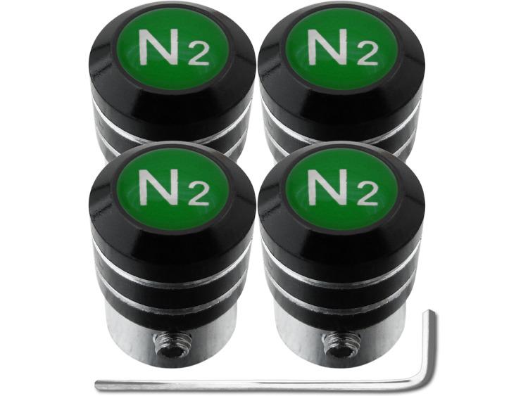 """4 Antidiebstahl-Ventilkappen Stickstoff N2 grün """"black"""""""