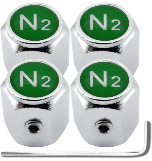 """4 Antidiebstahl-Ventilkappen Stickstoff N2 grün """"Hexa"""""""