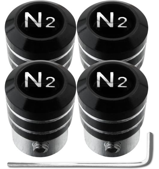 """4 Antidiebstahl-Ventilkappen Stickstoff N2 schwarz & chromfarbig """"black"""""""