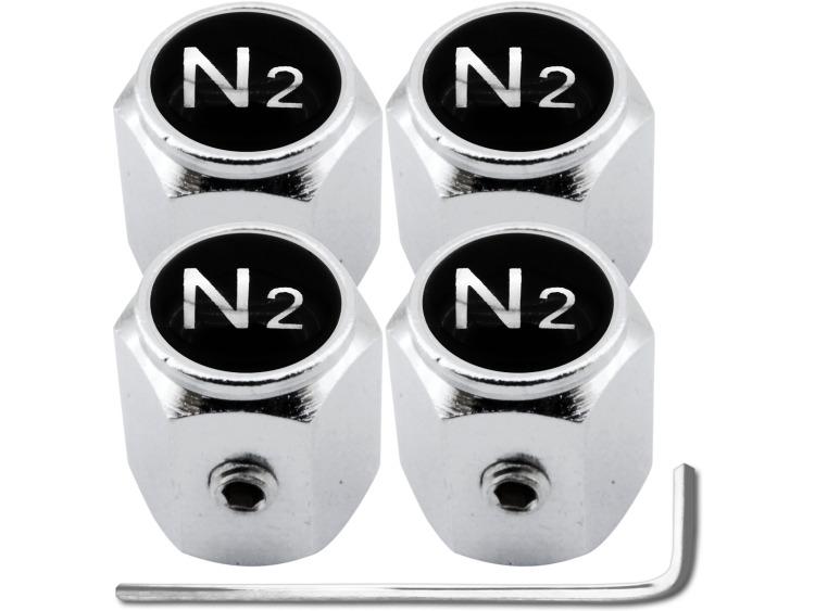 """4 Antidiebstahl-Ventilkappen Stickstoff N2 schwarz & chromfarbig """"Hexa"""""""