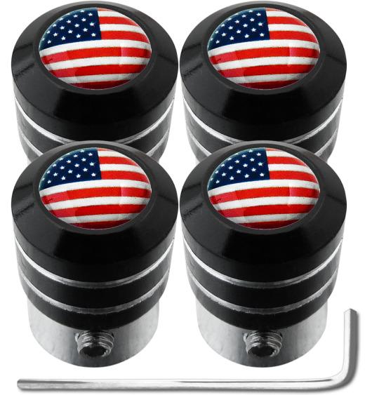 "4 Antidiebstahl-Ventilkappen USA Vereingite Staaten Amerika ""black"""