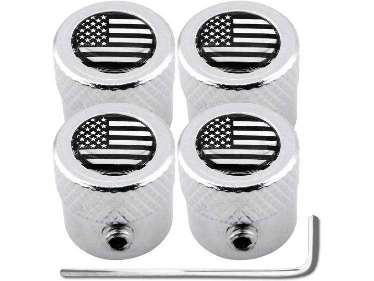 """4 Antidiebstahl-Ventilkappen USA Vereingite Staaten Amerika schwarz & chromfarbig """"gestreift"""""""