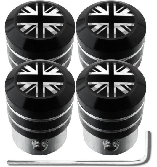 4 bouchons de valve antivol Angleterre Royaume-Uni Anglais Union Jack British England noir & chrome