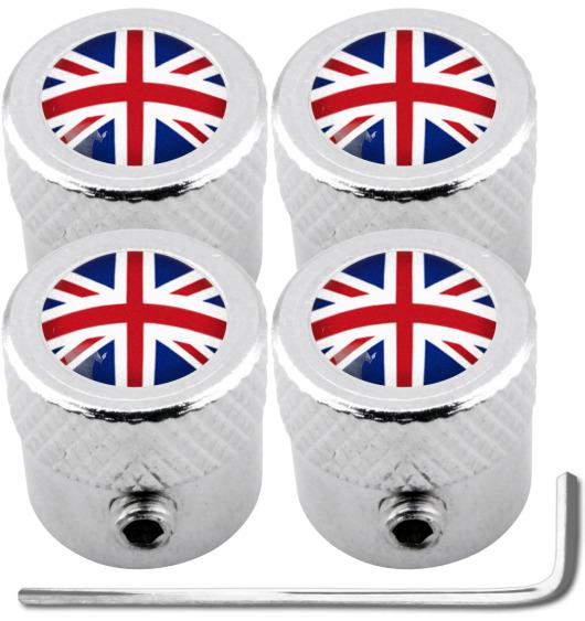 "4 bouchons de valve antivol Angleterre Royaume-Uni Anglais Union Jack British England ""strié"""