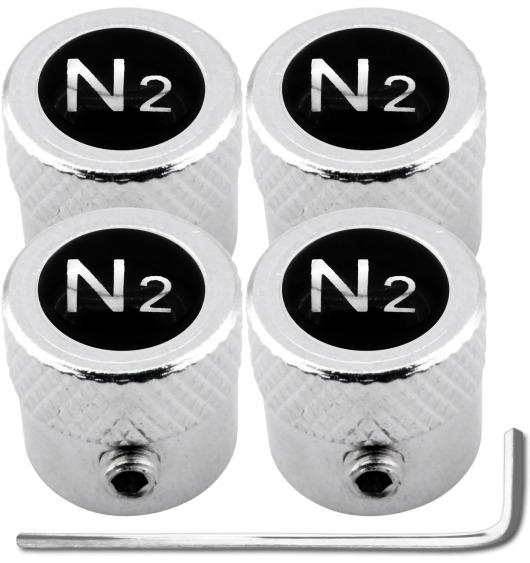 """4 bouchons de valve antivol Azote N2 noir & chrome """"strié"""""""