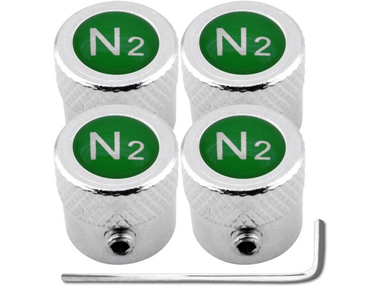 """4 bouchons de valve antivol Azote N2 vert """"strié"""""""