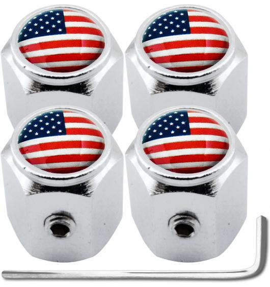 "4 bouchons de valve antivol Etats-Unis USA Amérique ""hexa"""