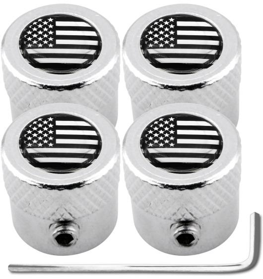 """4 bouchons de valve antivol Etats-Unis USA Amérique noir & chrome """"strié"""""""