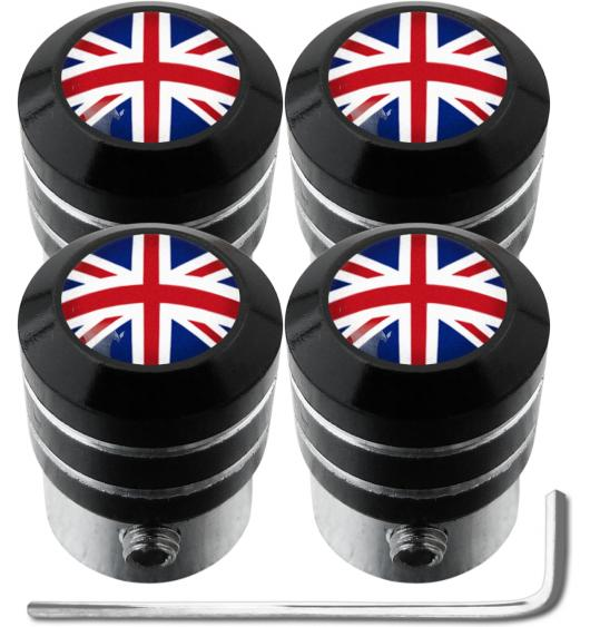 "4 English UK England British Union Jack ""black"" antitheft valve caps"