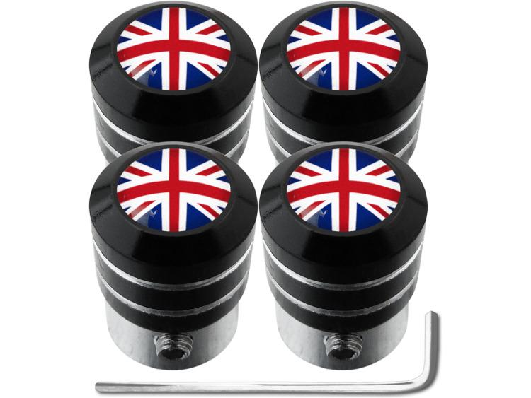 """4 English UK England British Union Jack """"black"""" antitheft valve caps"""