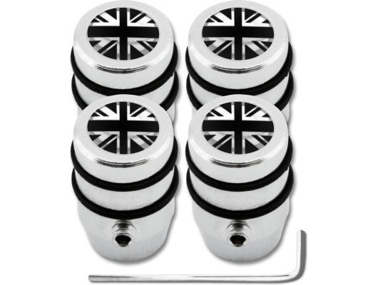 4 English UK England British Union Jack black  chrome design antitheft valve caps