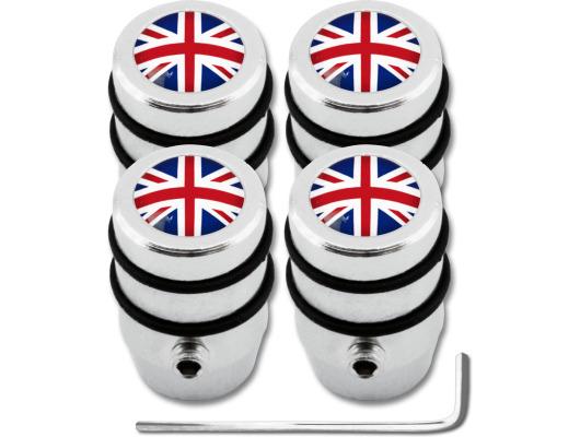 4 English UK England British Union Jack design antitheft valve caps