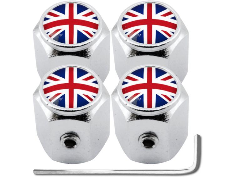 """4 English UK England British Union Jack """"hex"""" antitheft valve caps"""
