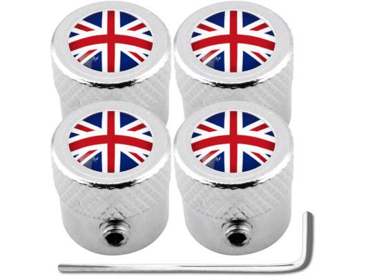 4 English UK England British Union Jack striated antitheft valve caps