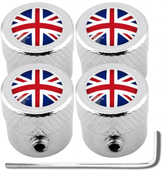 "4 English UK England British Union Jack ""striated"" antitheft valve caps"