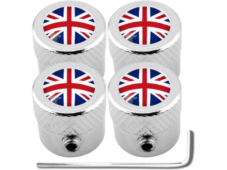 """4 English UK England British Union Jack """"striated"""" antitheft valve caps"""