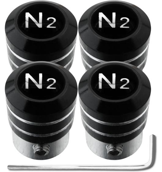 "4 Nitrogen N2 black & chrome ""black"" antitheft valve caps"