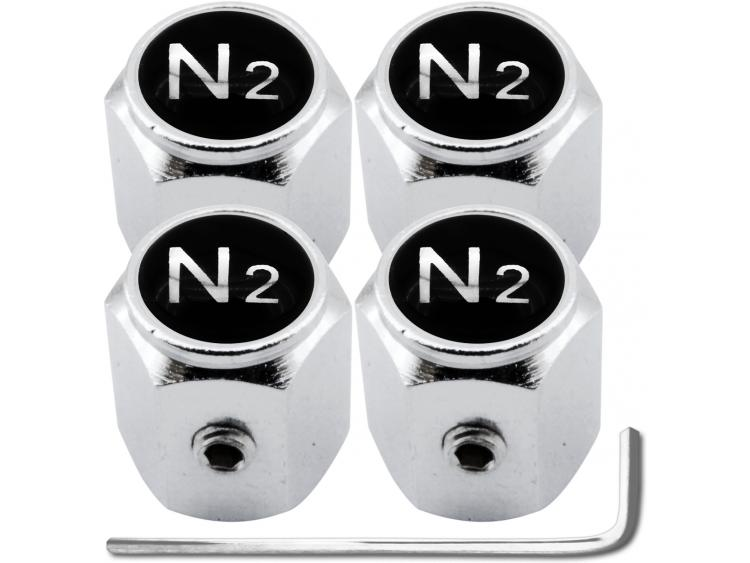 "4 Nitrogen N2 black & chrome ""hex"" antitheft valve caps"