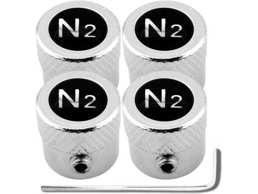 4 Nitrogen N2 black  chrome striated antitheft valve caps
