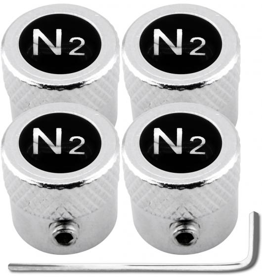 "4 Nitrogen N2 black & chrome ""striated"" antitheft valve caps"