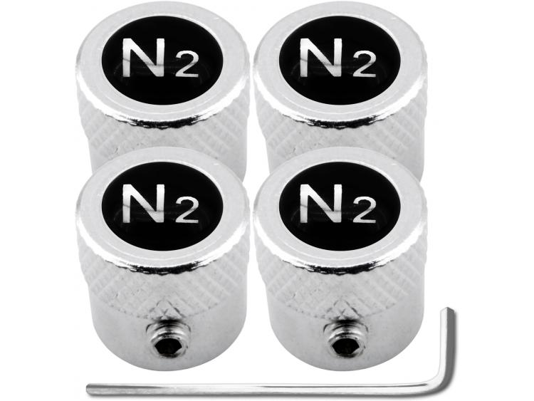 "4 Nitrogen N2 black & chrome ""striated"" antitheft valve caps"