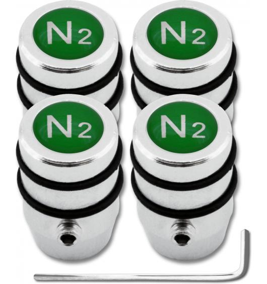 "4 Nitrogen N2 green ""design"" antitheft valve caps"