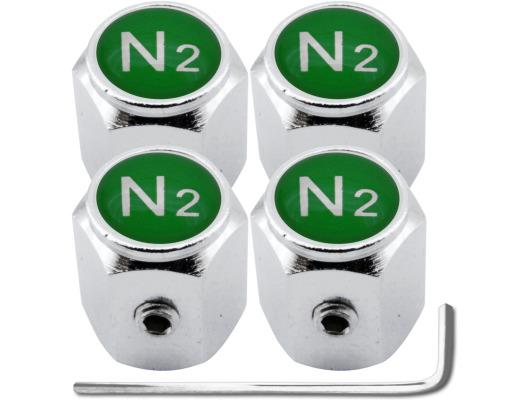 4 Nitrogen N2 green hex antitheft valve caps