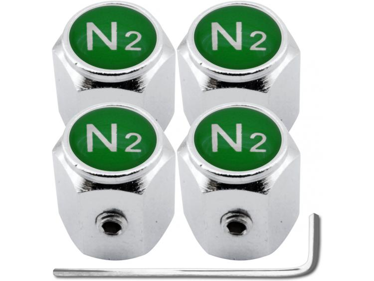"4 Nitrogen N2 green ""hex"" antitheft valve caps"