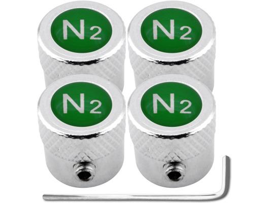4 Nitrogen N2 green striated antitheft valve caps