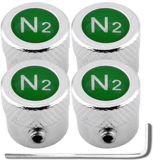 "4 Nitrogen N2 green ""striated"" antitheft valve caps"