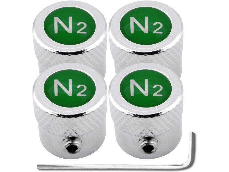 "4 Nitrogen N2 green ""striated"" antitheft valve caps"