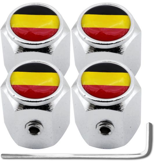 """4 tapones de valvula antirrobo bandera Belgica Belga """"hexa"""""""