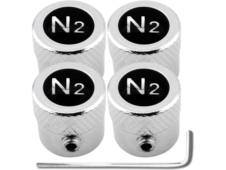 "4 tapones de valvula antirrobo Nitrogeno N2 negro & cromo ""estriado"""