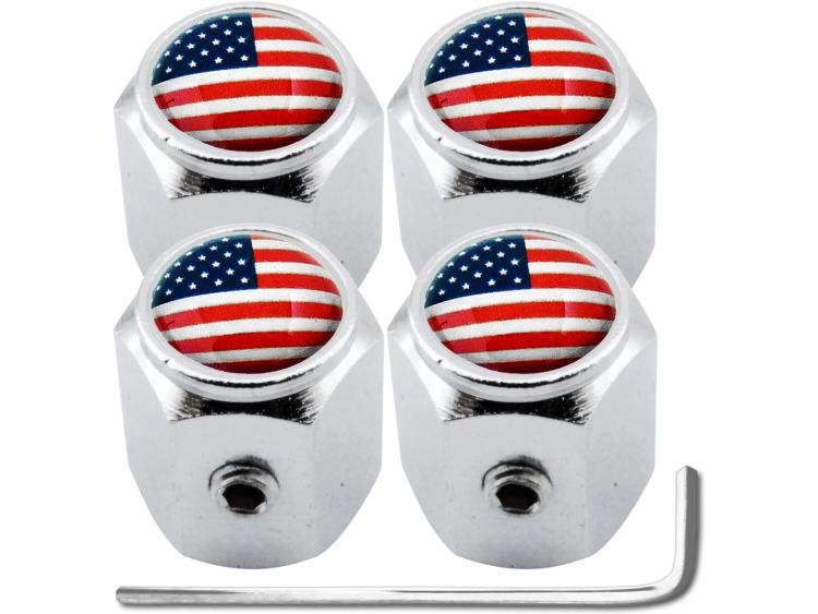 """4 tapones de valvula antirrobo USA Estados Unidos America """"hexa"""""""