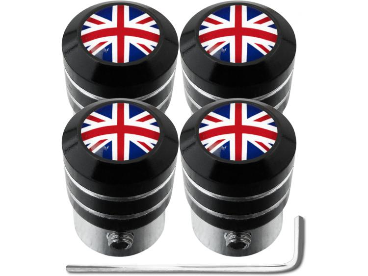 """4 tappi per valvole antifurto Inghilterra Regno Unito Inglese Gran Bretagna """"black"""""""