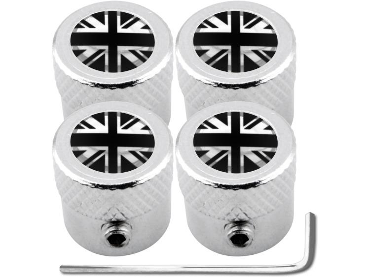 """4 tappi per valvole antifurto Inghilterra Regno Unito Inglese Gran Bretagna nero & cromo """"striato"""""""
