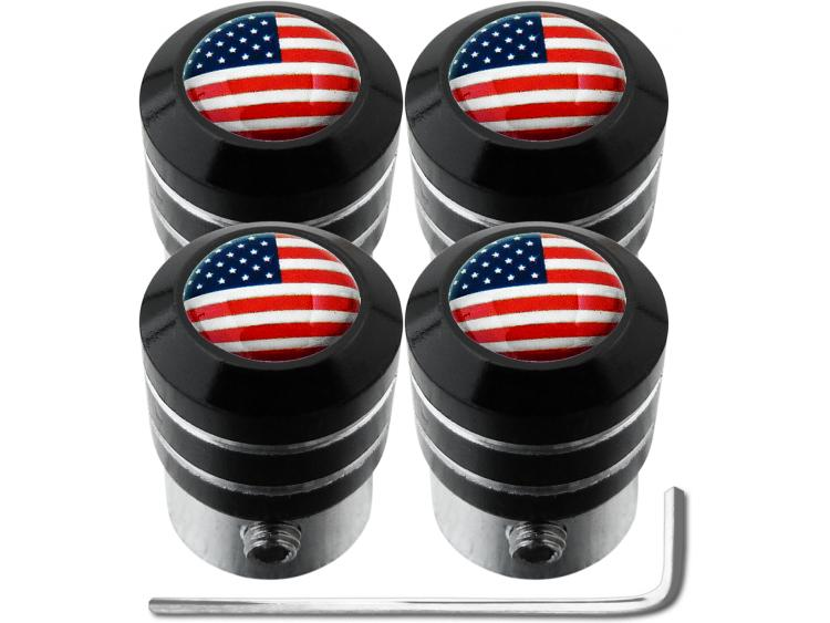 "4 tappi per valvole antifurto USA Stati Uniti d'America ""black"""