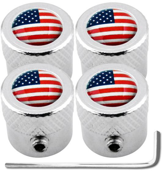 "4 tappi per valvole antifurto USA Stati Uniti d'America ""striato"""