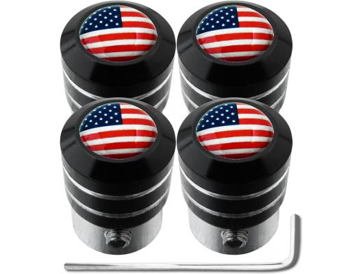 4 USA United States of America black antitheft valve caps