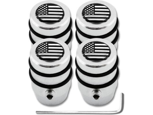 4 USA United States of America black  chrome design antitheft valve caps