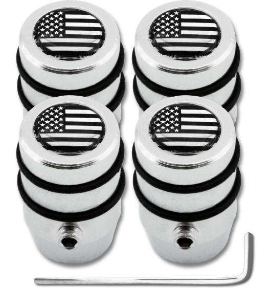 "4 USA United States of America black & chrome ""design"" antitheft valve caps"