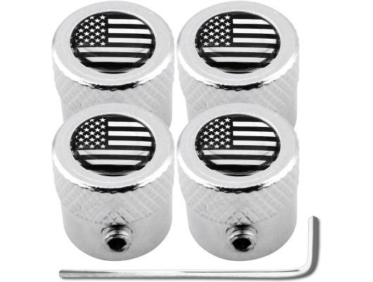 4 USA United States of America black  chrome striated antitheft valve caps