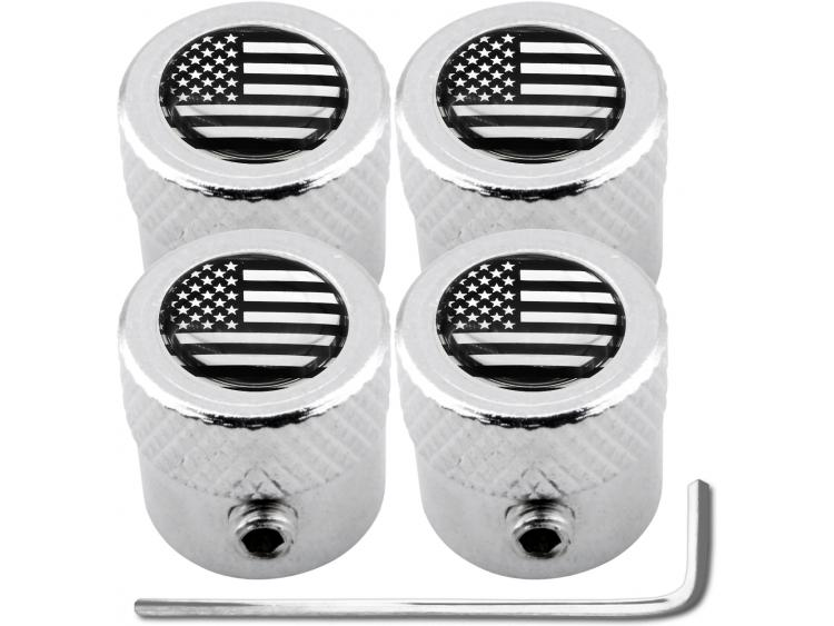 "4 USA United States of America black & chrome ""striated"" antitheft valve caps"