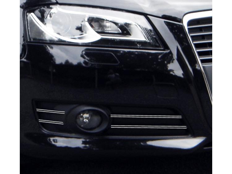 Double baguette chromée pour antibrouillards Audi A3 Série 2 Phase 2 08-12 & Audi A3 Série 2 Phase 2