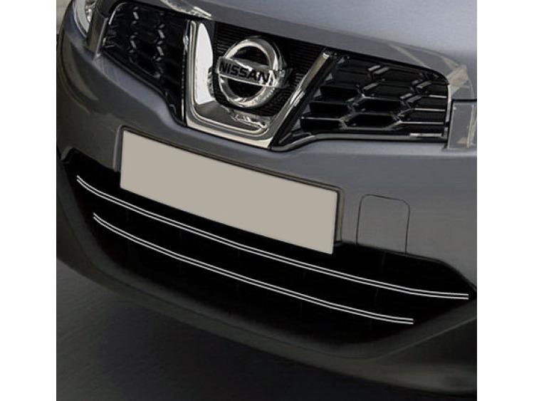 Doppia cornice per griglia radiatore cromata Nissan Qashqai +2 08-10/+2 phase 2 10-14/+2 phase 3/07-