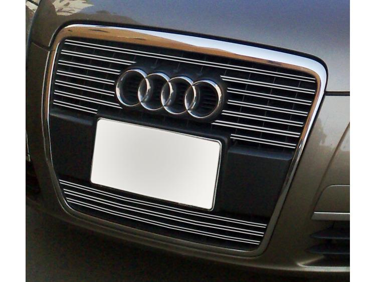 Double baguette de calandre chromée Audi A6 Série 3 Avant 05-08 & Audi A6 Série 3 Berline 05-08 v2